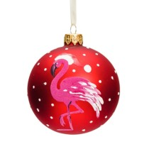 red glass 8cm bauble woth white dots and a hot pink flamingo wearing a santa hat