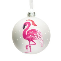 white glass bauble with hot pink flamingo on it 8cm