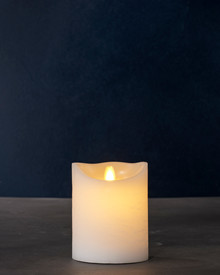 white wax battery operated fake candle 12.5cm high x 10cm