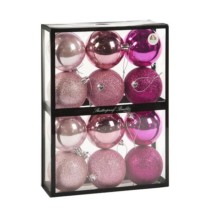 pink shatterproof baubles box of 12 plain and glittered 7cm