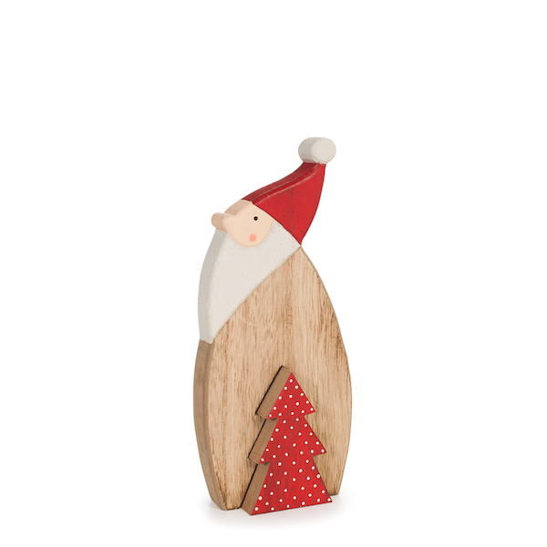 wooden standing santa with removable red tree