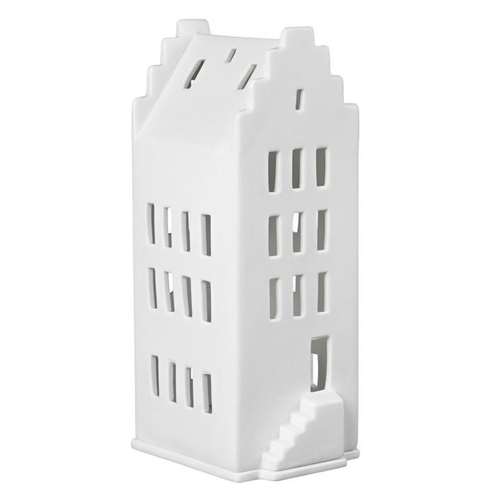 white ceramic gable house for tealight