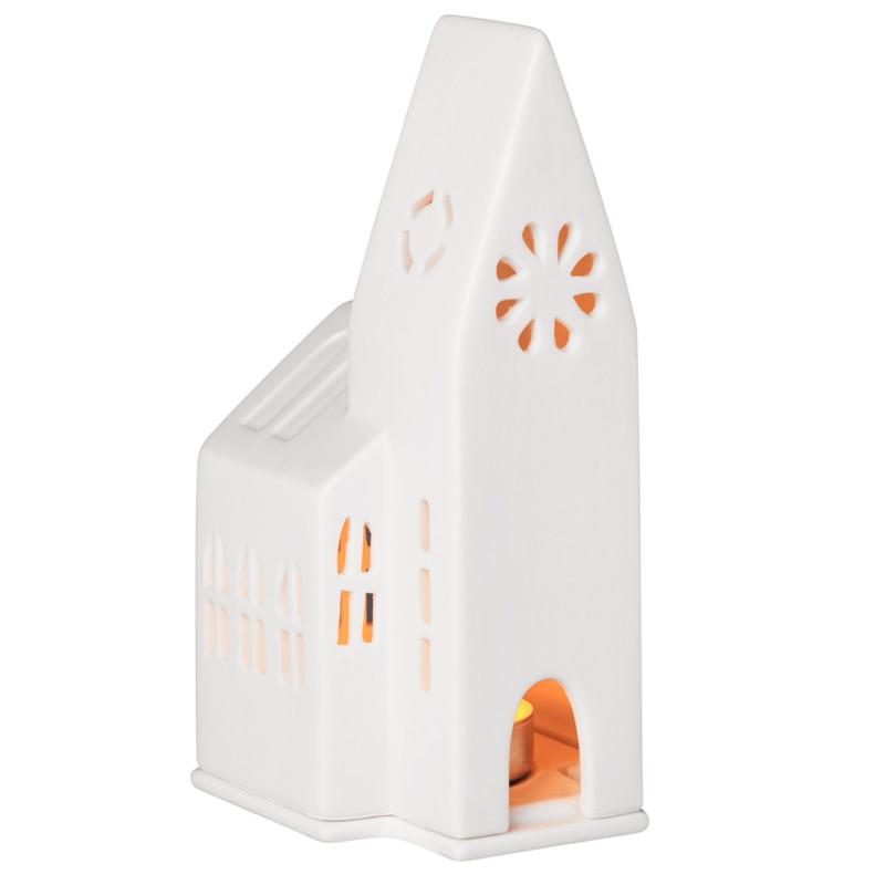 white matte porcelain church shaped tealight holder