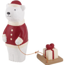 white bear with present on sleigh