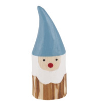small wooden dwarf with blue cap