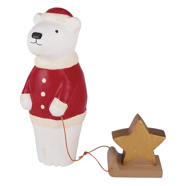 wooden bear with star on a sleigh