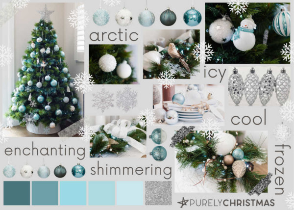 gorgeous blue and silver Christmas tree theme