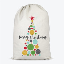 santa sack witha colourful bauble tree and Merry christmas