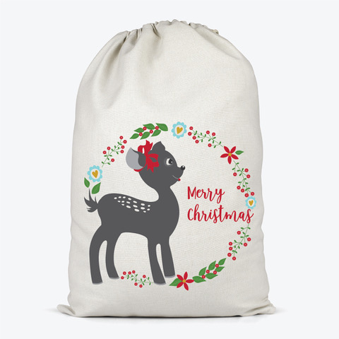 little fawn on a santa sack surrounded by a ring of flowers