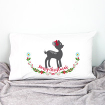 fawn christmas pillowcase