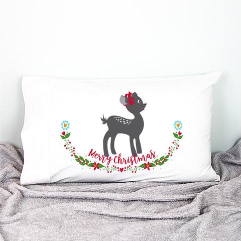 fawn christmas pillowcase