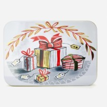 small pocket size christmas tin with gifts on the front