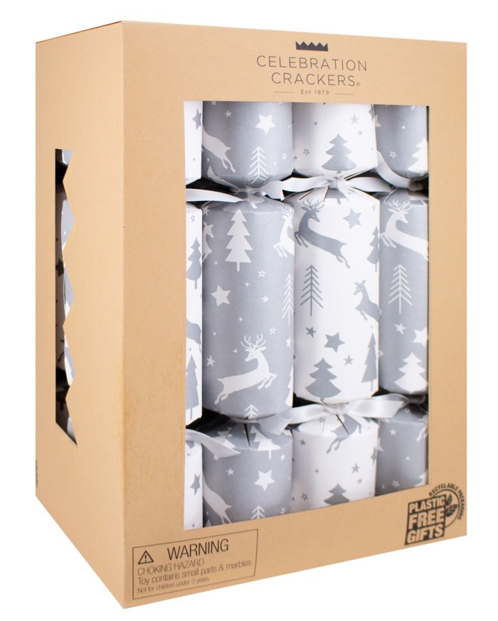 kraft box of 12 silver white christmas crackers
