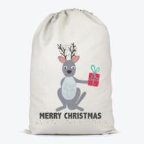 kangaroo holding a present on a santa sack