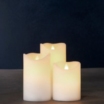 set of 3 Sara white wax candles