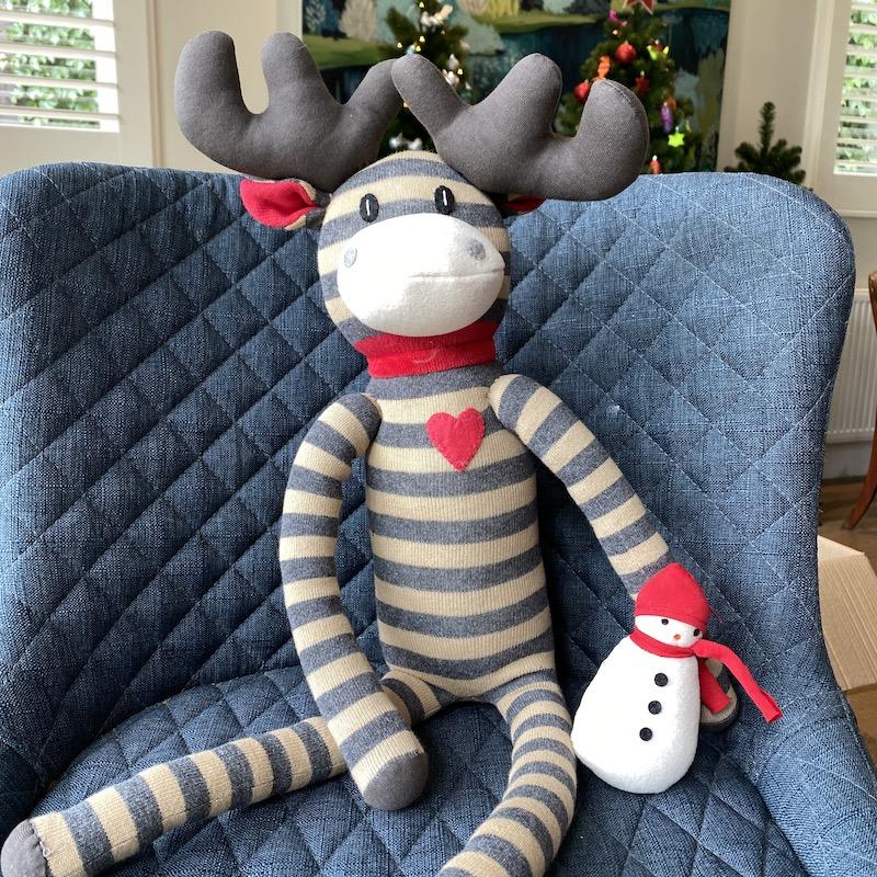 knitted christmas moose moose on stool