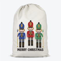 santa sack with three nutcrackers and merry christmas