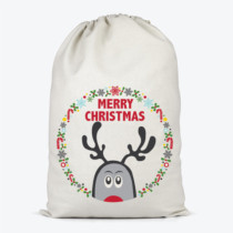 peeping reindeer on a santa sack