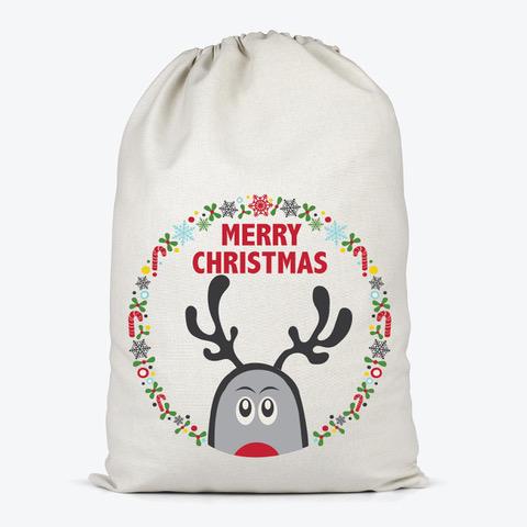 peeping reindeer on a santa sack