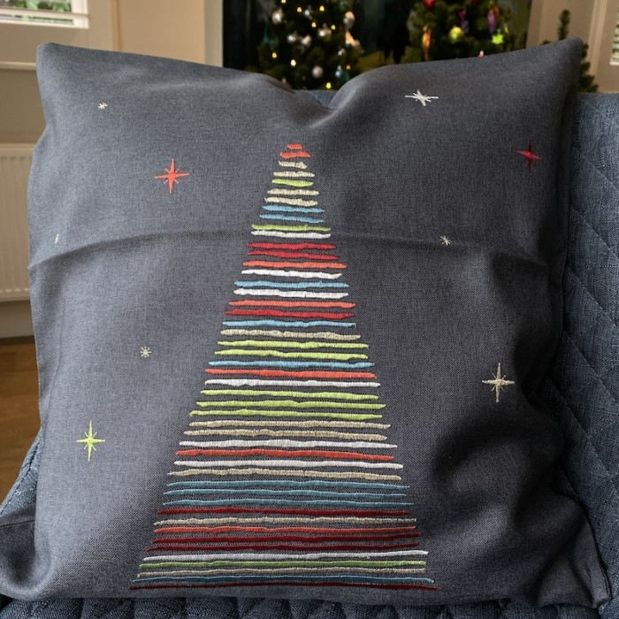 christmas cushion cover with contemporary coloured tree