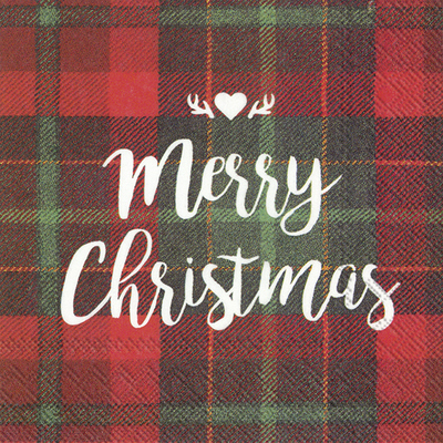red tartan check serviette with merry christmas in white writin