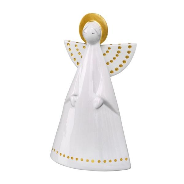 white porcelain angel with gold highlights