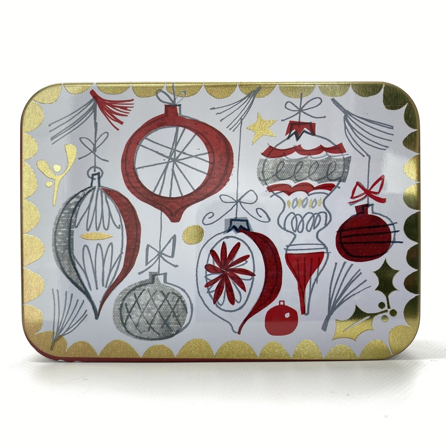 petite christmas tin white with red and gold baubles