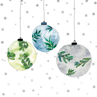 christmas napkin three baubles in blue on white background