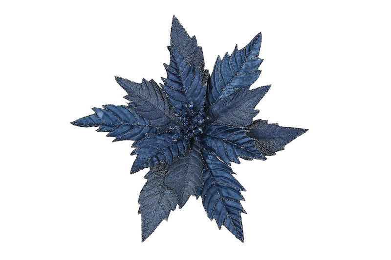 navy blue poinsettia clip