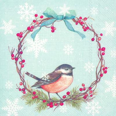 light blue serviette bird in a christmas wreath
