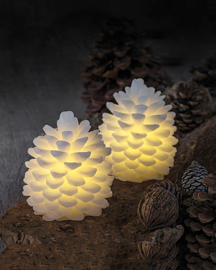 set of 2 pinecone LED candles