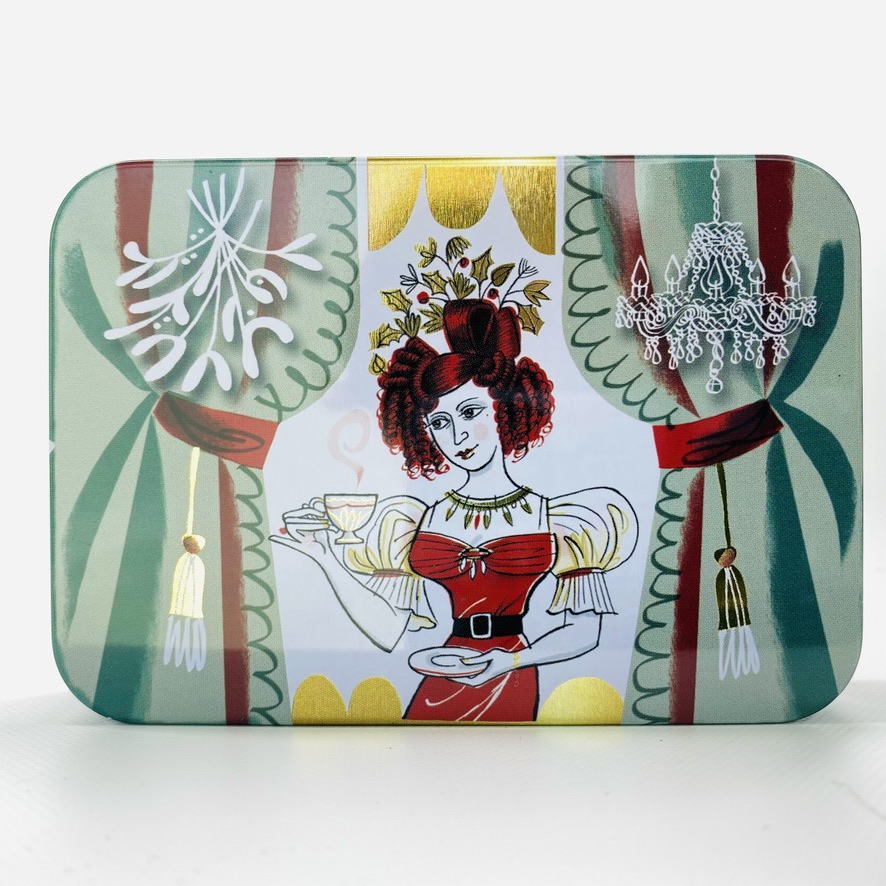 regency woman drinking tea christmas tin