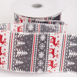 fair isle christmas sweater wired ribbon