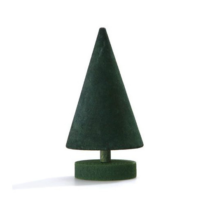 green wooden cone shaped christmas tree