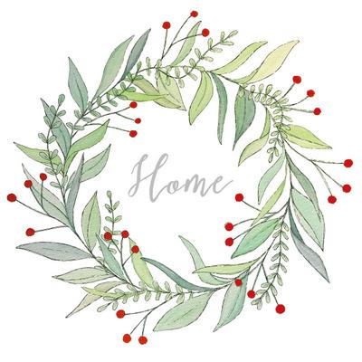 christmas napkin with eucalyptus style wreath