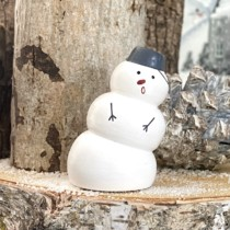 small wooden white snowman