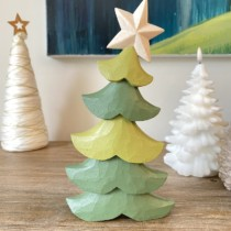 large wooden green Christmas tree two tone