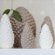 lifestyle photo of pinecone candles from Bougies La francais