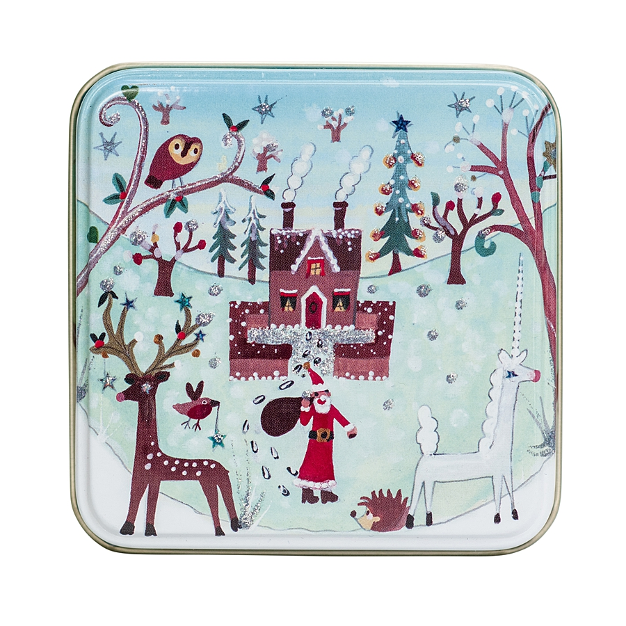 small tin with house and unicorn