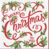 christmas paper serviette with Merry Christmas to you in red writing