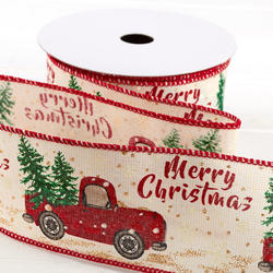 wired christmas ribbon with vintage red truck carrying christmas trees 9m , 6.5cm wide