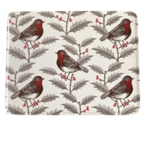 Christmas tin with robins and holly