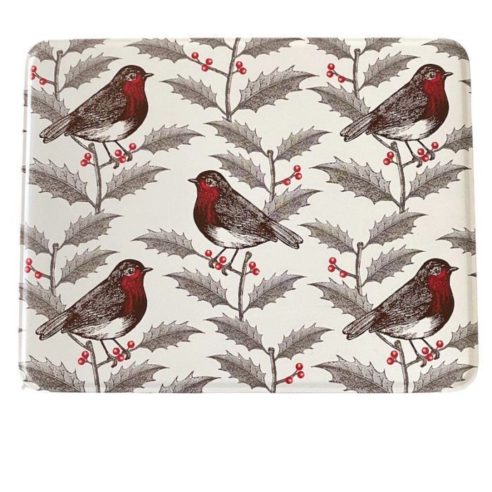 Christmas tin with robins and holly