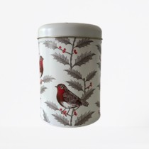 cylindrical christmas tin with robins and holly