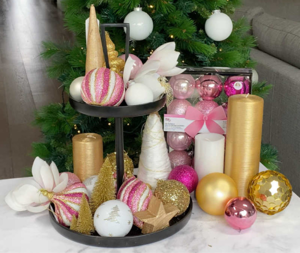 pink gold and white tiered tray with extras