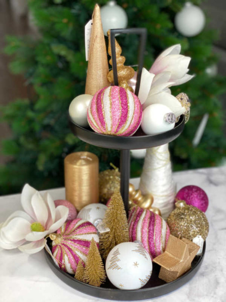 pink and gold two tiered Christmas centrepiece