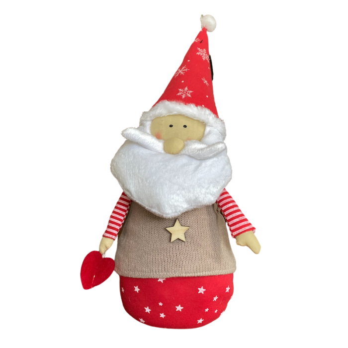 plush santa with brown knitted jumper