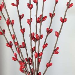 red pip berry spray with brown stems