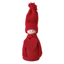 wooden red santa with heart