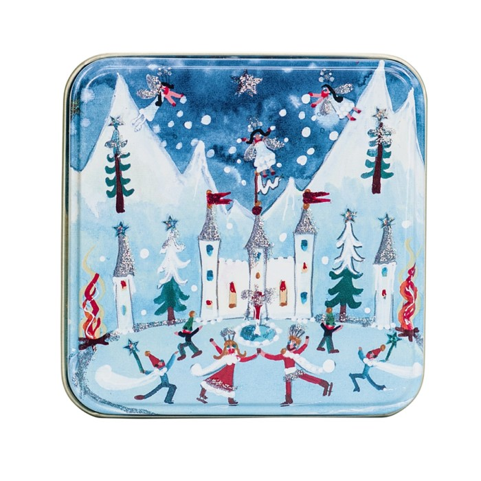 small christmas tin with castle, skaters glittered